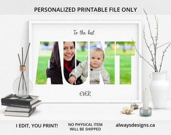 PRINTABLE Personalized Aunt Photo Collage Picture Auntie Gifts Gift Birthday For Her Aunty Digital File