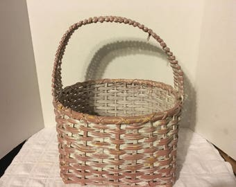 Large Painted Primitive Antique Hand Woven Wicker Gathering Basket