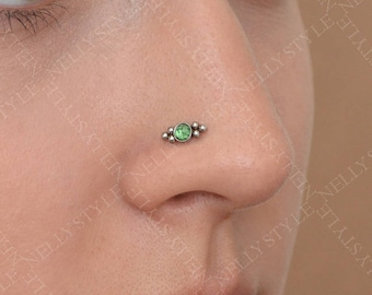 Surgical Steel Nose Stud with CZ Gemstone - good for tragus earring, helix ring, conch piercing