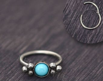 Surgical Steel Tragus Jewelry Turquoise - Helix hoop jewelry, cartilage earring, rook hoop