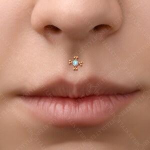 Lip Ring Opal Medusa Piercing Jewelr Internally Threaded Monroe Stud Implant Grade Titanium Labret Piercing Jewelry