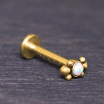 Labret Surgical Steel - Lip jewelry with Opal, monroe lip ring, medusa labret jewelry