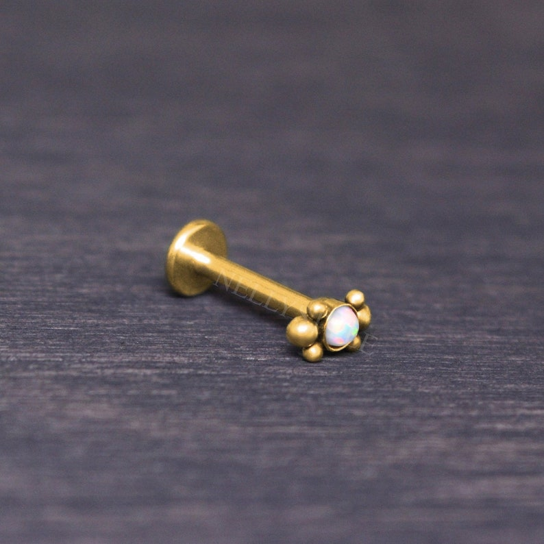 Labret Surgical Steel  Lip jewelry with Opal monroe lip image 0