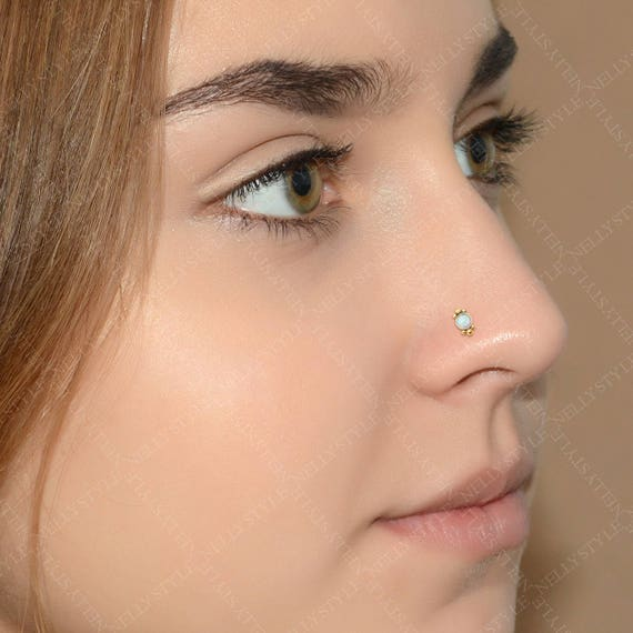 Opal Nose Ring Stud Surgical Steel Nose Piercing Stud 20g Etsy