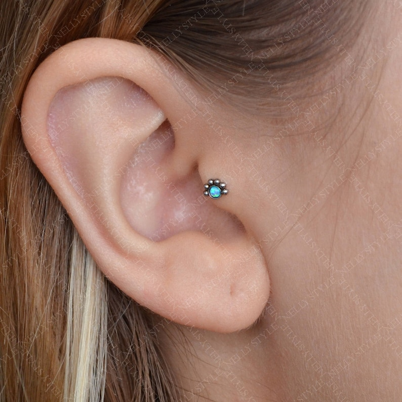Surgical Steel Tragus Earring with Opal stone  works as nose image 0