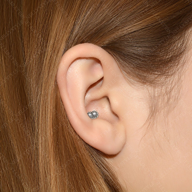 Helix Stud Tragus Jewelry Conch Piercing Jewelry with CZ Cartilage Earring Labret Jewelry Titanium