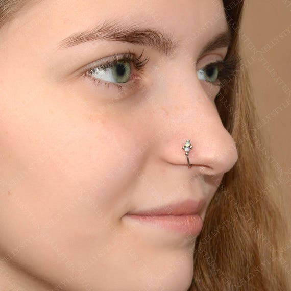 Stainless Steel Nose Ring With Opal Stone Nose Jewelry Etsy