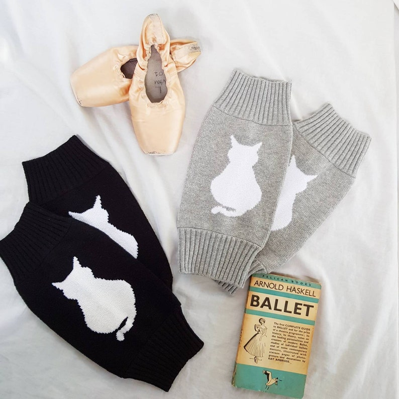 Gift for dancer Ankle 80s style womens legwarmers Leg warmers for ballet and dance Gift for cat lover