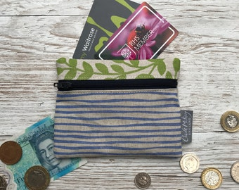 Gift For Her Block Printed By Hand Present Cornflower Stripes Navy Zip Green Leaves Hand Printed Linen Zipped Coin Purse