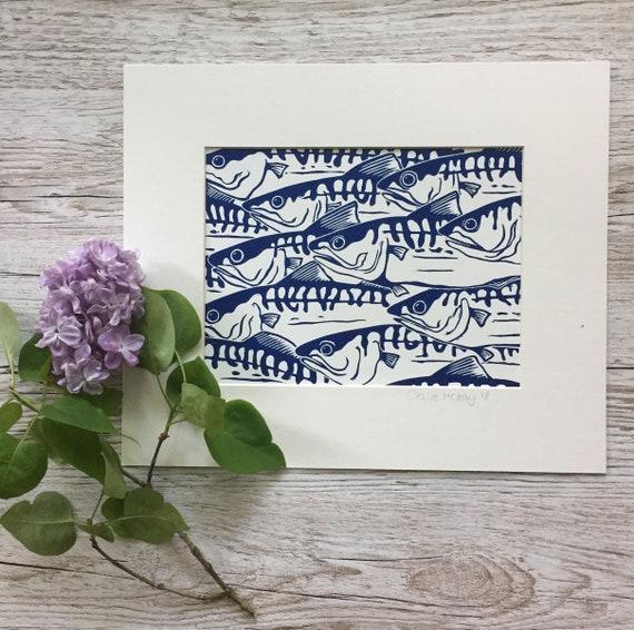 Original Linocut Print Shoal of Mackerel | Handmade | Original | Gift For Him | Home Decor | Fish | Birthday Present