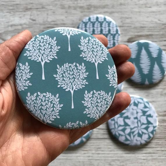 "Pocket Mirror | Original Linocut Mulberry Tree Design | 76cm/3"" Diameter | Metal & Glass | Gift For Her | Stocking Filler | Cosmetic Mirror"