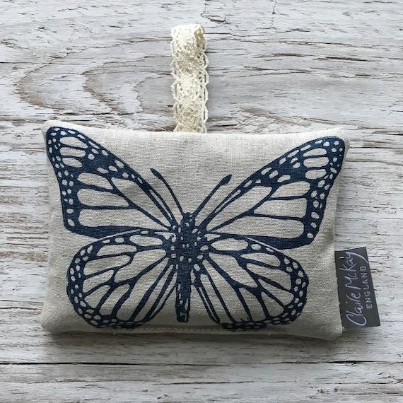 Hand Printed Linen Lavender Bag | Navy Butterfly | Original Linocut Design