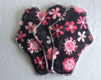Towel feminine long night, abundant has medium flow. Women's washable organic napkins. Eco, protection pads.