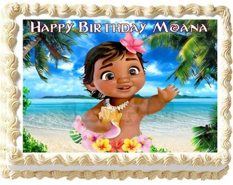 Moana Maui 19cm Edible Cake Topper Wafer Paper 12 Birthday Cupcake Toppers