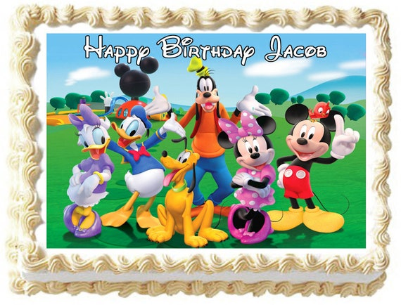 Sensational Mickey Mouse Club House Image Edible Cake Topper Party Etsy Funny Birthday Cards Online Overcheapnameinfo