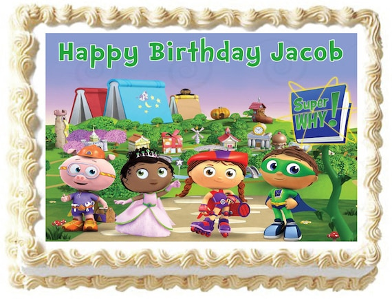 Groovy Super Why Image Edible Cake Topper Etsy Funny Birthday Cards Online Elaedamsfinfo