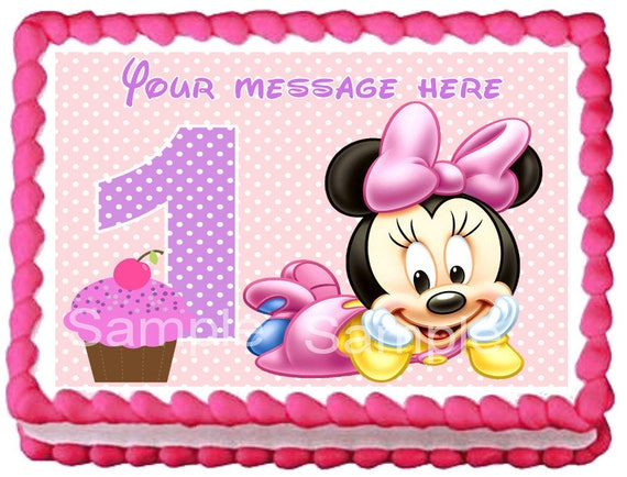 Baby Minnie Mouse Edible Cake Topper 1st Year Party Etsy