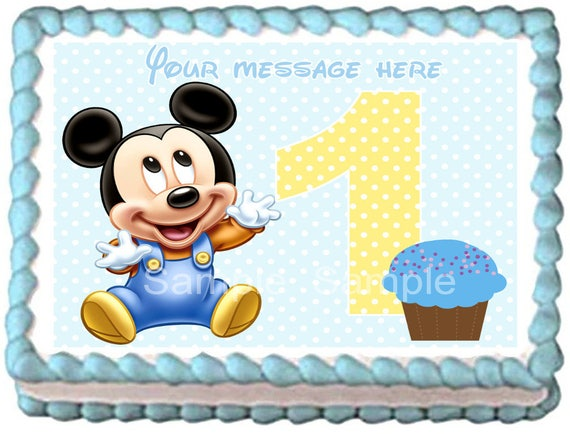 Baby Mickey Mouse Edible Cake Topper 1st Year Party Etsy