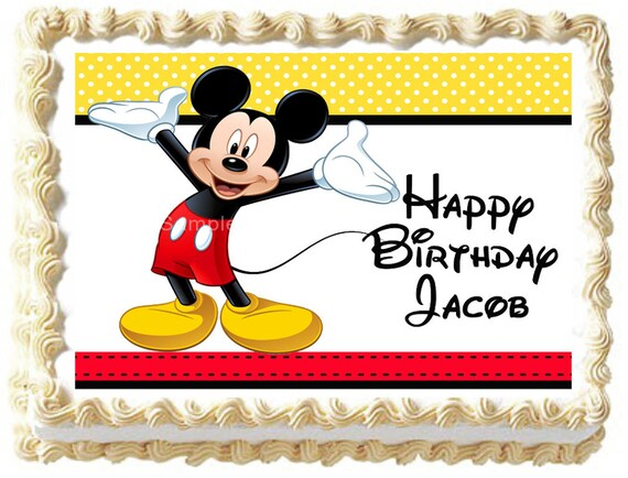 Mickey Mouse Edible Cake Topper Party Image Etsy