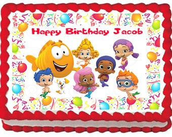 BUBBLE GUPPIES Edible cake topper party image