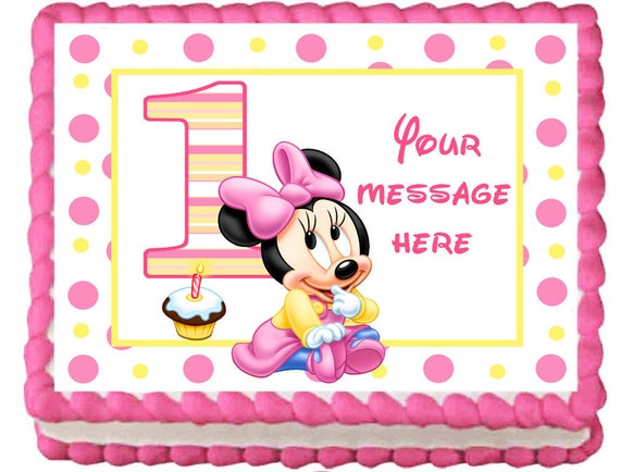 Baby Minnie Mouse Edible Cake Topper Image Party Etsy