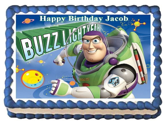 Tremendous Buzz Lightyear Toy Story Edible Cake Topper Image Party Etsy Funny Birthday Cards Online Inifofree Goldxyz