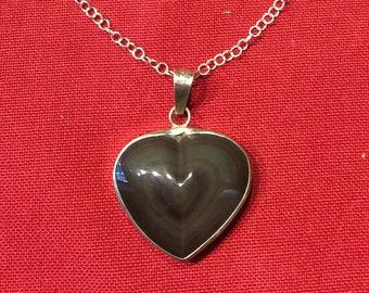 Rainbow obsidian heart pendant