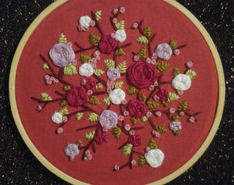 3D 4in Floral, Branches, And Leaves Embroidery Hoop Art