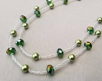 Forest Green Hand Beaded Double Strand Necklace