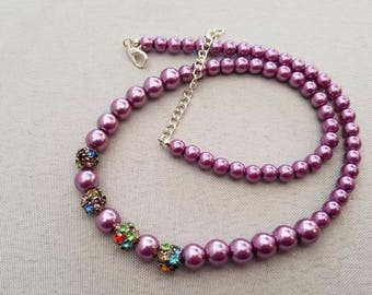 Violet Glass Pearl Necklace