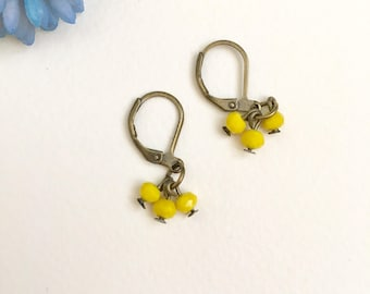 Yellow Earrings, Bronze Earrings, Girls Earrings, Vintage Style