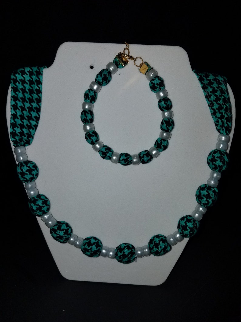 Cloth Beaded Necklace and Bracelet Set Handmade cloth covered Beads inside the fabric  Both adjustable  Made in Maine