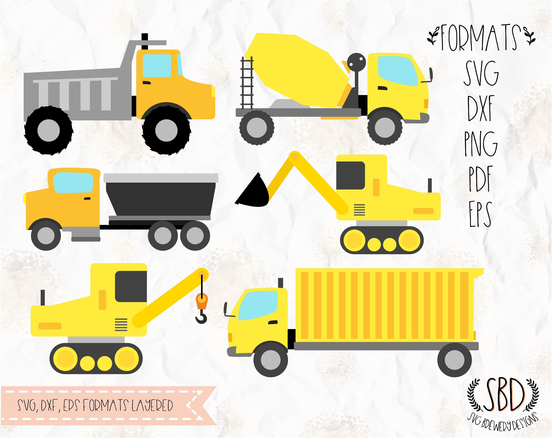 Trucks Construction bulldozer crane Birthday theme SVG