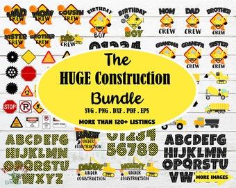 Huge Construction birthday bundle svg, under construction elements svg, truck bundle, digger truck svg,excavator truck, birthday crew svg
