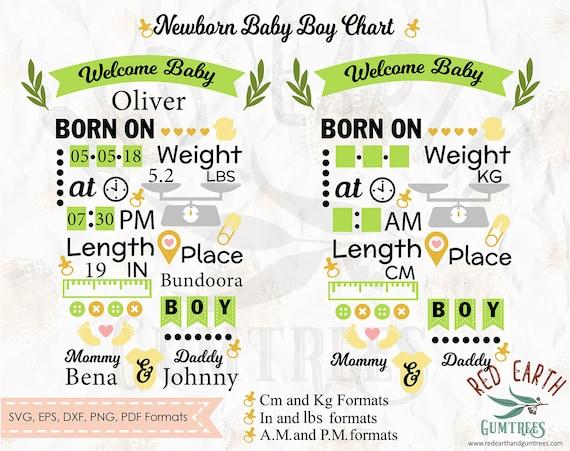 Baby Boy Announcement Chart Newborn Baby Chart Template Svg Etsy