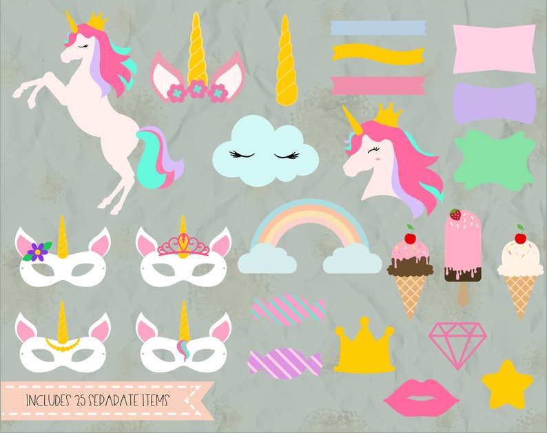banners SVG silhouette DXF vinyl decal crown Unicorn theme elements baby shower Eps cricut PNG t shirt cake topper,lips birthday
