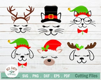 Christmas cat Christmas dog bundle, cat with lashes SVG, PNG, DXF, Eps,Pdf for cricut, silhouette studio,cut file,vinyl decal,t shirt design