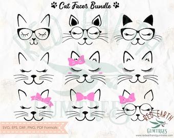 Cat faces bundle with whiskers, eyelashes, lashes, SVG, PNG, EPS, Pdf, Dxf cricut, silhouette studio, cut file,  vinyl decal, t shirt design
