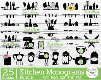 Kitchen monogram frames bundle Svg,baking monogram bundle,wine monogram frame,beer monogram,kitchen decal svg SVG, PNG, Eps,DXF,Pdf cricut