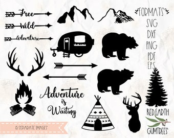 Camping, caravan,bears, bonfire,boho, deer, mountain, teepee, woodland,SVG, PNG, DXF, cricut, silhouette studio, vinyl decal, t shirt design