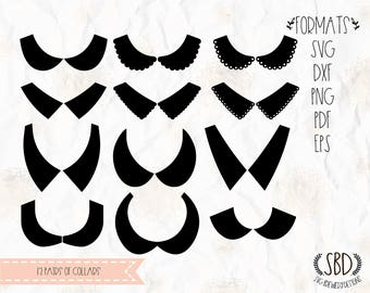 Shirt collars, Collars, SVG, PNG, DXF, Cricut, silhouette cameo, cut file, cutting machines, vinyl decal, t shirt design, stencil template