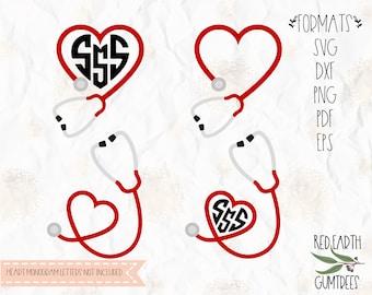 Heart Stethoscope monogram frame, nurse monogram, medical, SVG, PNG, DXF, Eps, Pdf for cricut, silhouette studio, cut file, vinyl decal