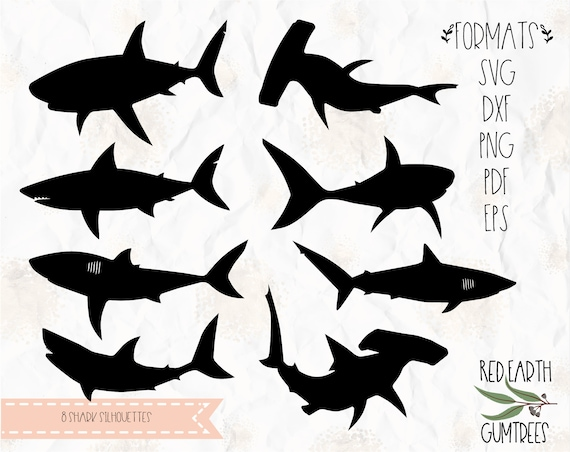 Shark silhouettes collection, hammer shark, great white shark, SVG, PNG,  DXF, Eps, Pdf cricut, silhouette studio, cut file, vinyl decal