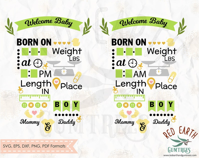 silhouette studio Dxf for cricut Baby boy announcement chart PNG cut file vinyl wall decal EPS newborn baby chart template SVG Pdf