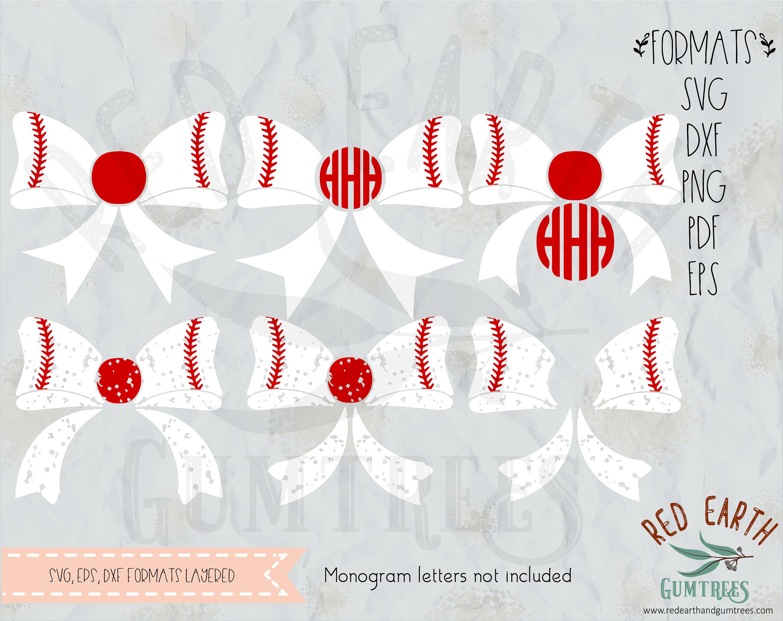 Monogramm Baseball-Bögen Distressed Baseball Schleife Grunge