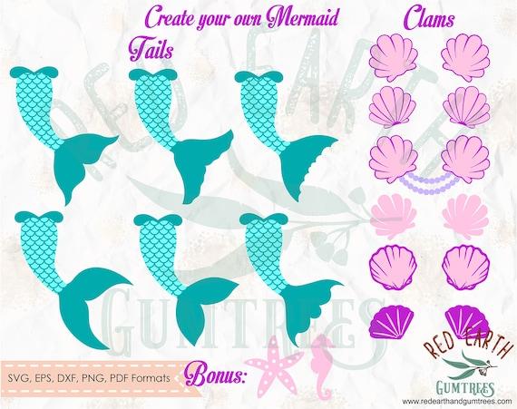clam split PNG DXF vinyl decal silhouette studio circle monogram frame SVG Eps circle monogram frame Mermaid tail split Pdf  cricut
