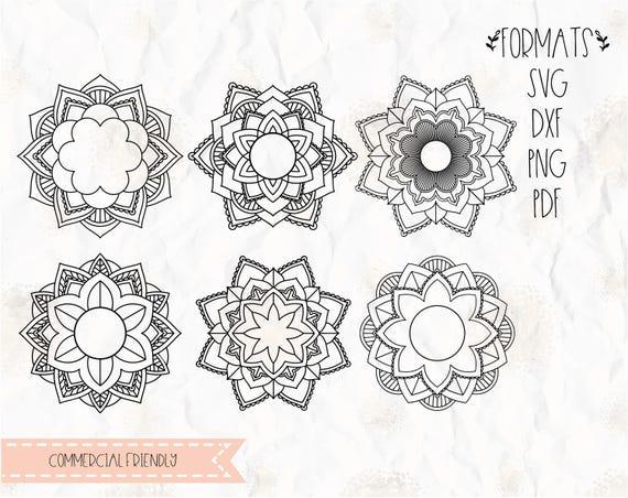 Download Mandala flower circle monogram frame SVG layered PNG | Etsy