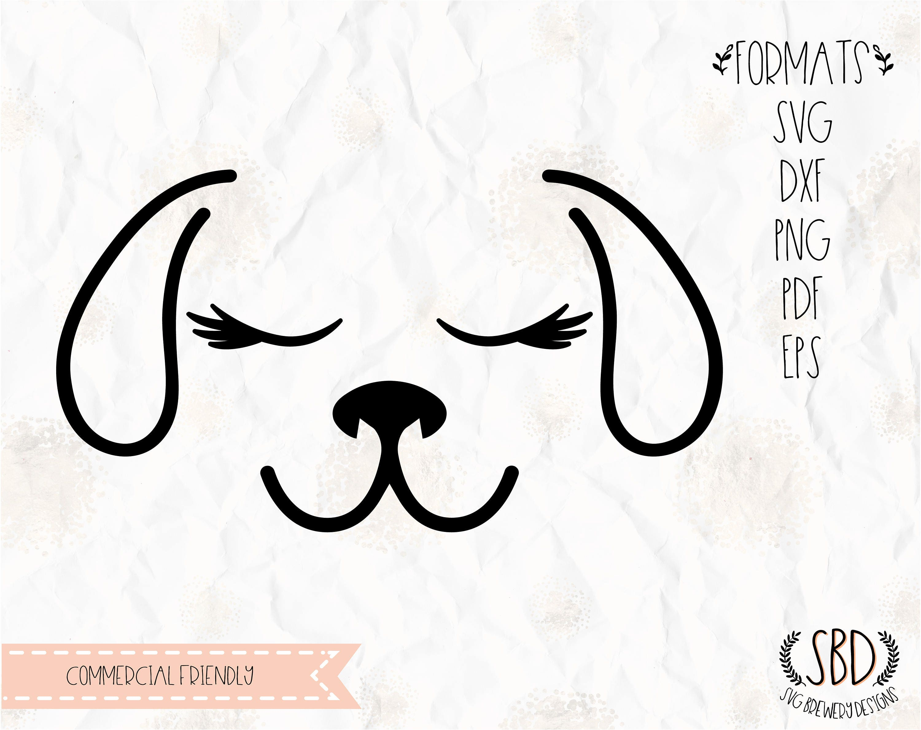 Dog face with lashes, eyelashes SVG, PNG, EPS, Dxf, Pdf cricut, silhouette  studio,cut file, vinyl decal, t shirt design, Stencil template