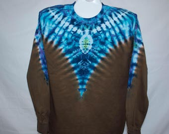 Adult Large, Blue and Brown Tie Dye, 100% Cotton
