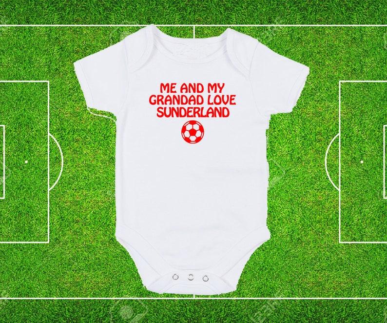 Sunderland Me and My Dad Grandad Love Football fan White Baby Grow Bodysuit